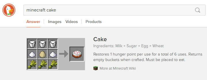 DuckDuckGo - Minecraft cake search
