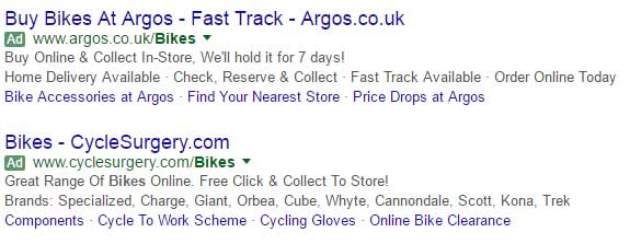 Green ad icons AdWords