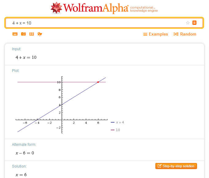 WolframAlpha equation
